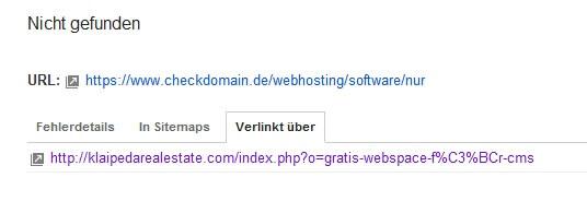 Die Seite, die im Webmaster Tool einen 404er erzeugt
