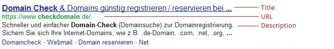 """Domain Check"" in den SERPs"