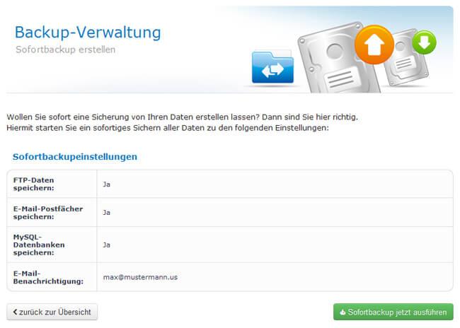 Sofortbackup der Webhostingdaten