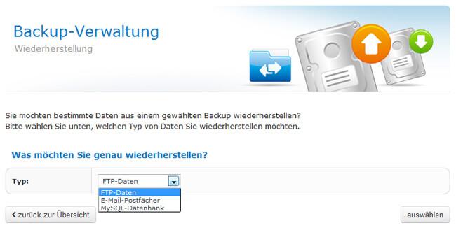 Backupverwaltung - Wiederherstellen