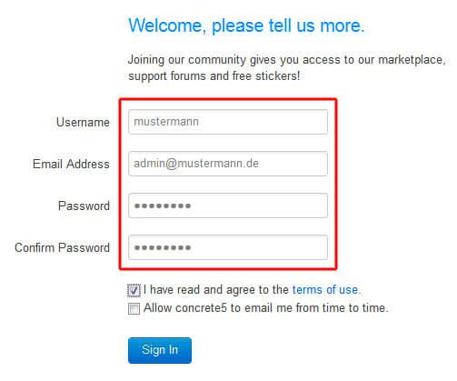 Username und Passwort für die Community vergeben