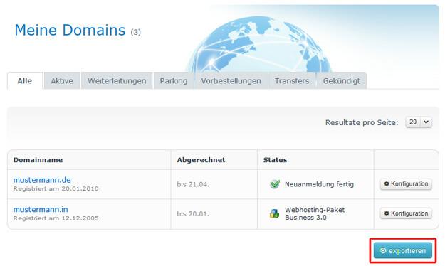 Domainliste exportieren