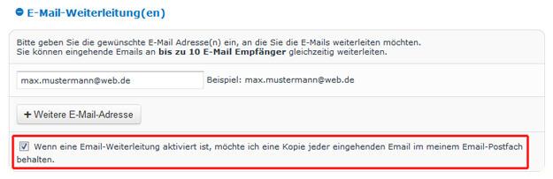 E-Mail-Kopie speichern