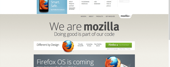 Internetseite des Mozilla Projektes