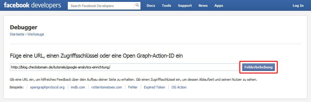URL im Facebook Debugger eintragen