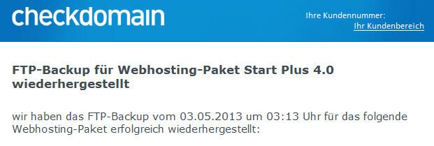 FTP-Backup für Webhosting-Paket wiederhergestellt