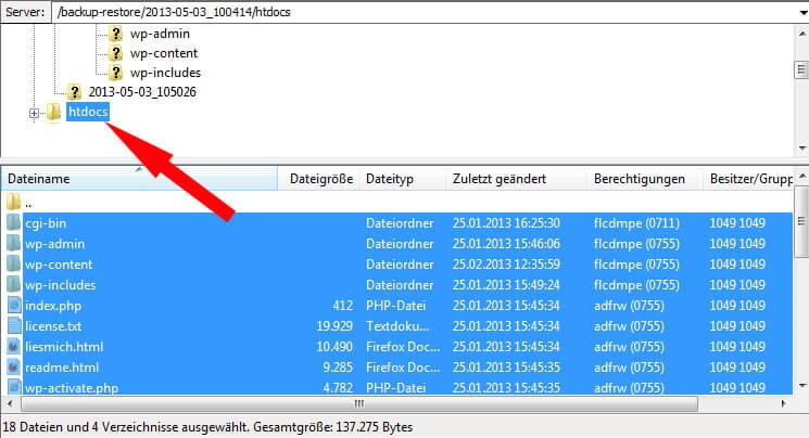 Verschieben der Daten im FTP-Programm