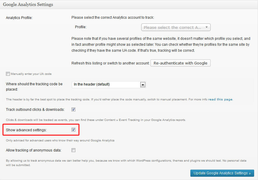 Advanced Settings im WP-Plugin aktivieren