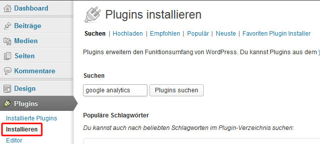 Wordpress-Plugins suchen