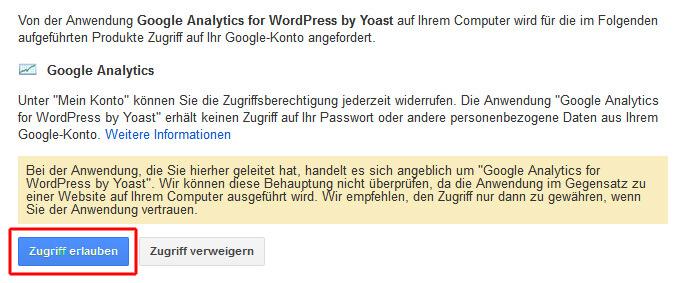 Zugriff auf Google Analytics für das WP-Plugin erlauben