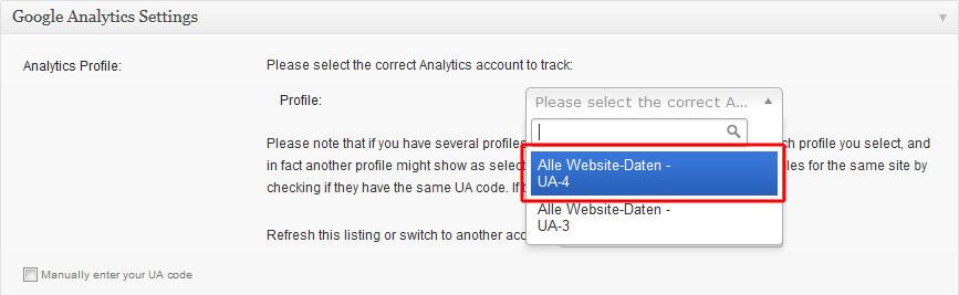 Analytics Profil im WP-Plugin auswählen