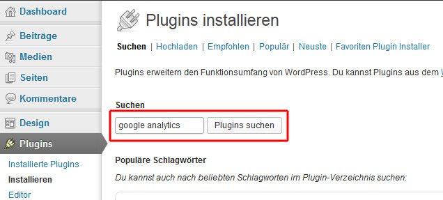 Google Analytics Plugin für WordPress suchen