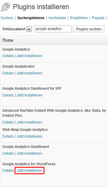 Google Analytics for WordPress installieren