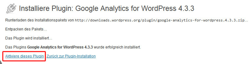 Google Analytics Plugin für WordPress aktivieren