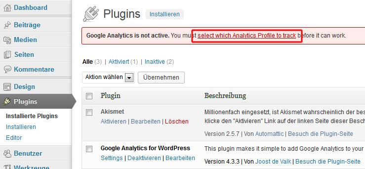 Google Analytics Profil im WordPress Plugin auswählen
