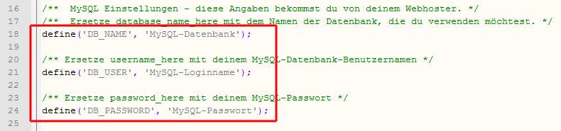 Eintragen der neuen MySQL-Daten