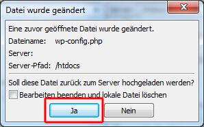 Änderung der Datei bestätigen