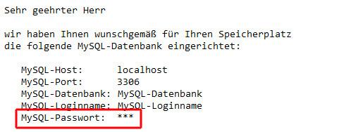 Zugangsdaten der MySQL-Datenbank