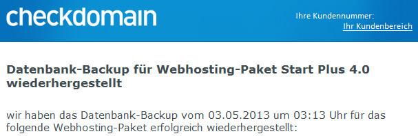 Datenbank-Backup für Webhosting-Paket wiederhergestellt