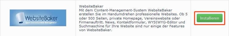Automatische Installation von Website Baker starten