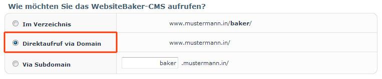Website Baker direkt aufrufen, im Unterverzeichnis oder Subdomain