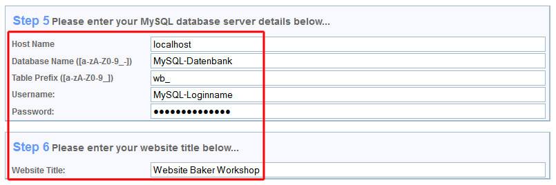 Website Baker Installation Step 5 und 6