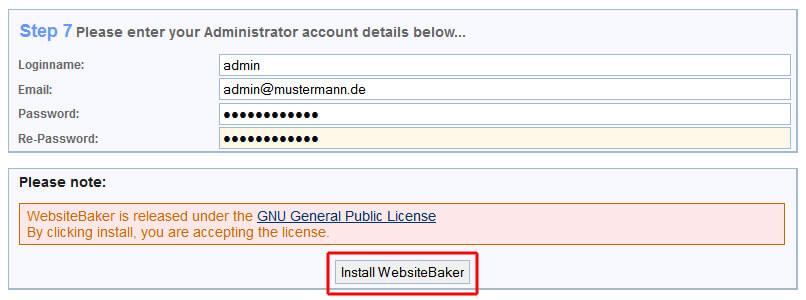Website Baker Installation - Die letzten Schritte