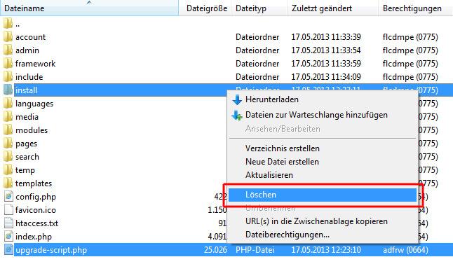 install-Ordner und upgrade-script löschen