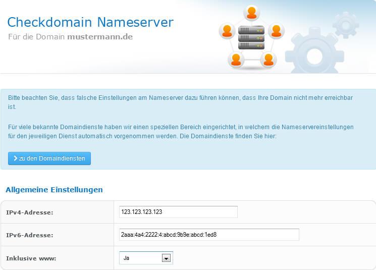 IPv4 oder IPv6 im Kundenbereich von checkdomain.de hinterlegen
