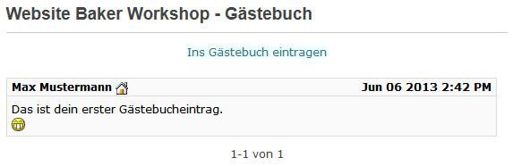 Website Baker Beispiel Gästebuch