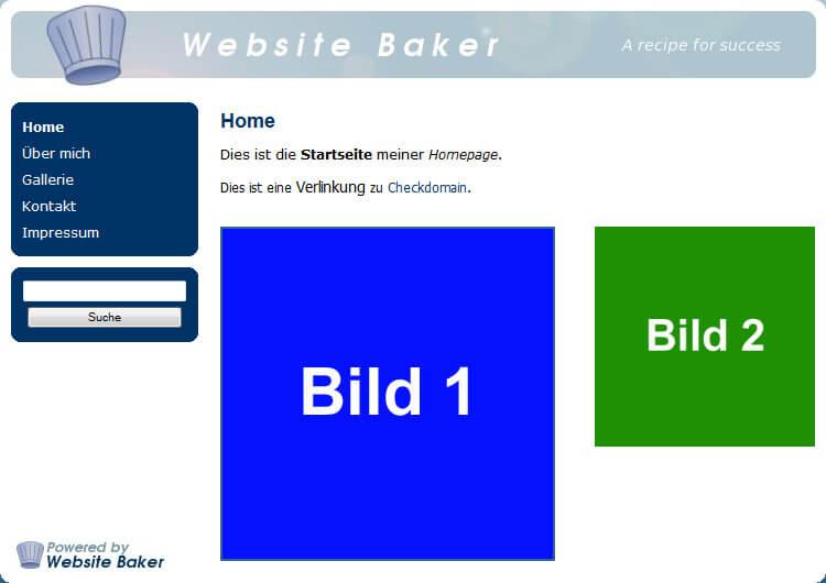 Website Baker: Fertige Seite mit Bildern