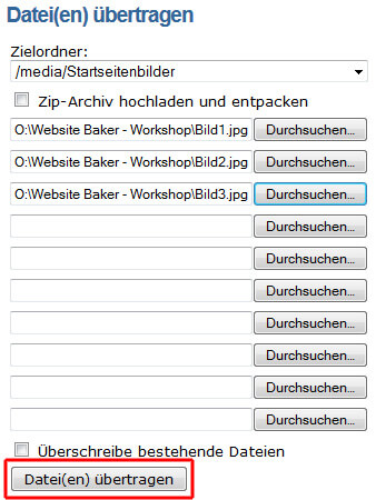 Website Baker: Bilder übertragen