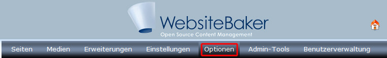 Website Baker: Optionen