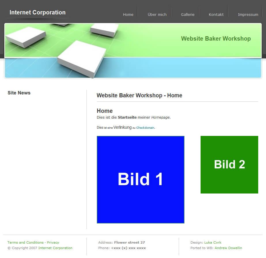 Website Baker: Die neu designte Seite