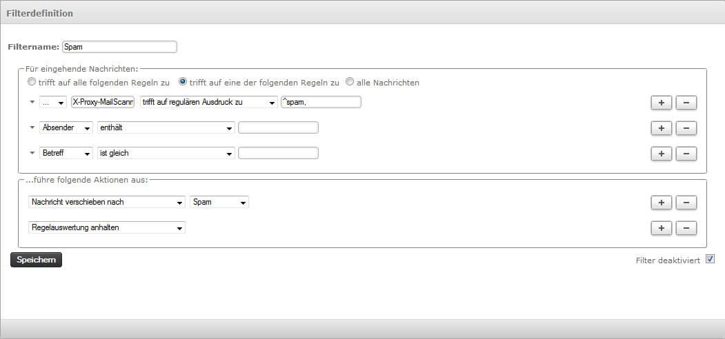 Zusätzliche Spamfilter im Webmail setzen