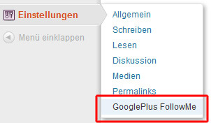Einstellungen -> GooglePlus FollowMe
