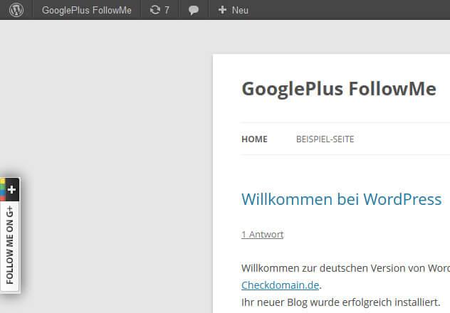 GooglePlus FollowMe Plugin: Das Endergebnis