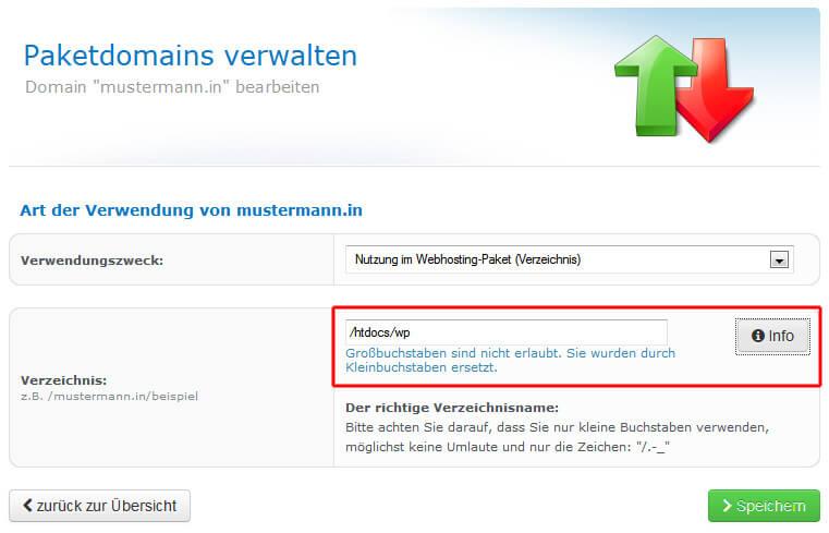 checkdomain.de: Hauptverzeichnis einer Domain ändern