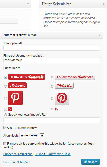 "Einstellungen des Pinterest ""Follow"" Button Plugins"