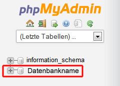 phpMyAdmin: Datenbank auswählen