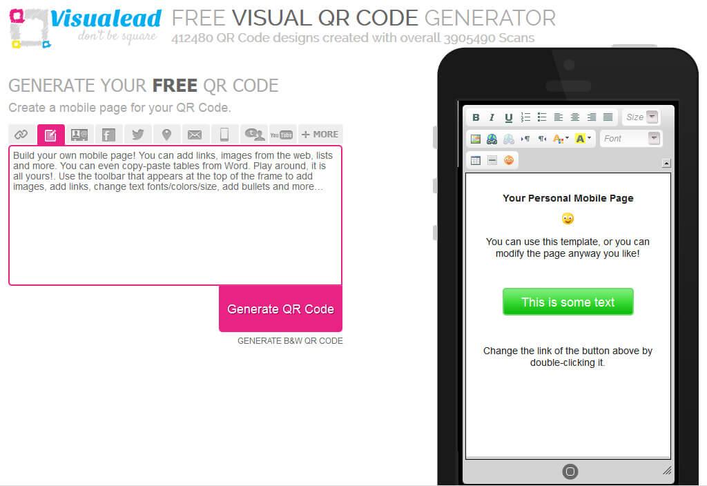 QR-Code für Mobile Page erstellen