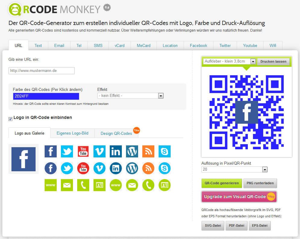 QR-Codes mit QRCode Monkey erstellen