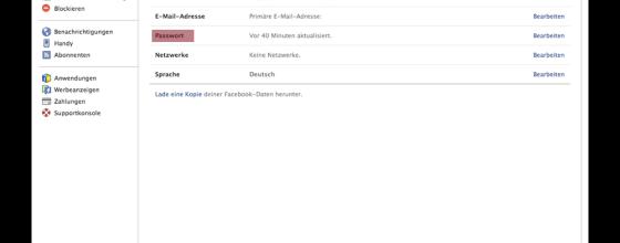 Facebook Passwort