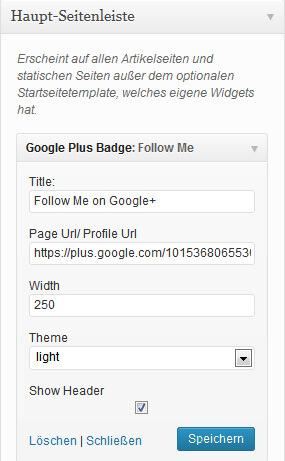 Einstellungen für das Kd Google plus Badge Plugin