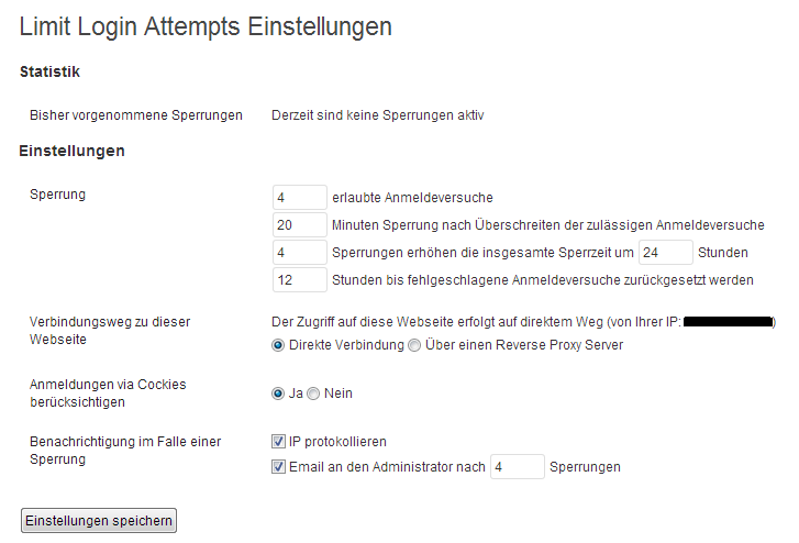 Limit Login Attempts Einstellungen