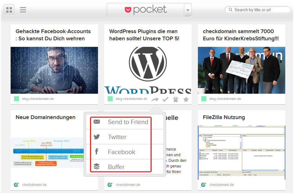 Pocket Web-Ansicht: Social Media Optionen
