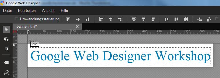 Google Web Designer - Banner mit fertigem Text
