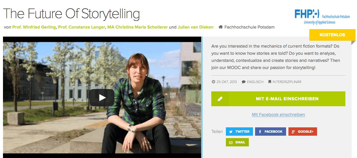 30 000 eingeschriebene Teilnehmer: Storytelling hat sich bei iversity als Top-Kurs erwiesen. Screenshot: iversity.org