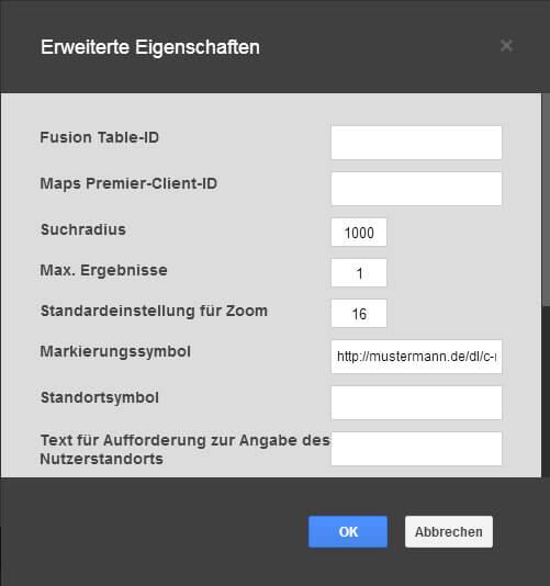 Google Web Deisgner - Erweiterte Einstellungen Karte