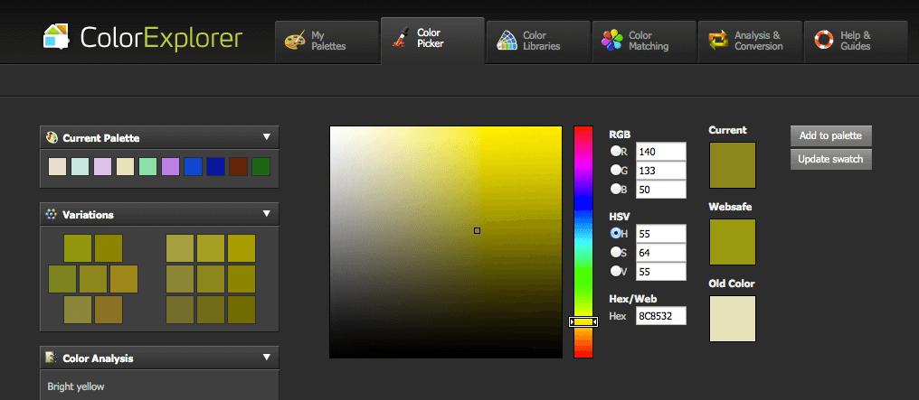 Mit dem Color Picker lassen sich Variationen einer ausgewählten Farbe erstellen.